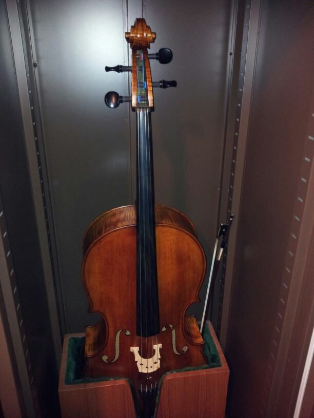 Cello protected from humidity in Eureka Dry Tech's Auto Dry Box