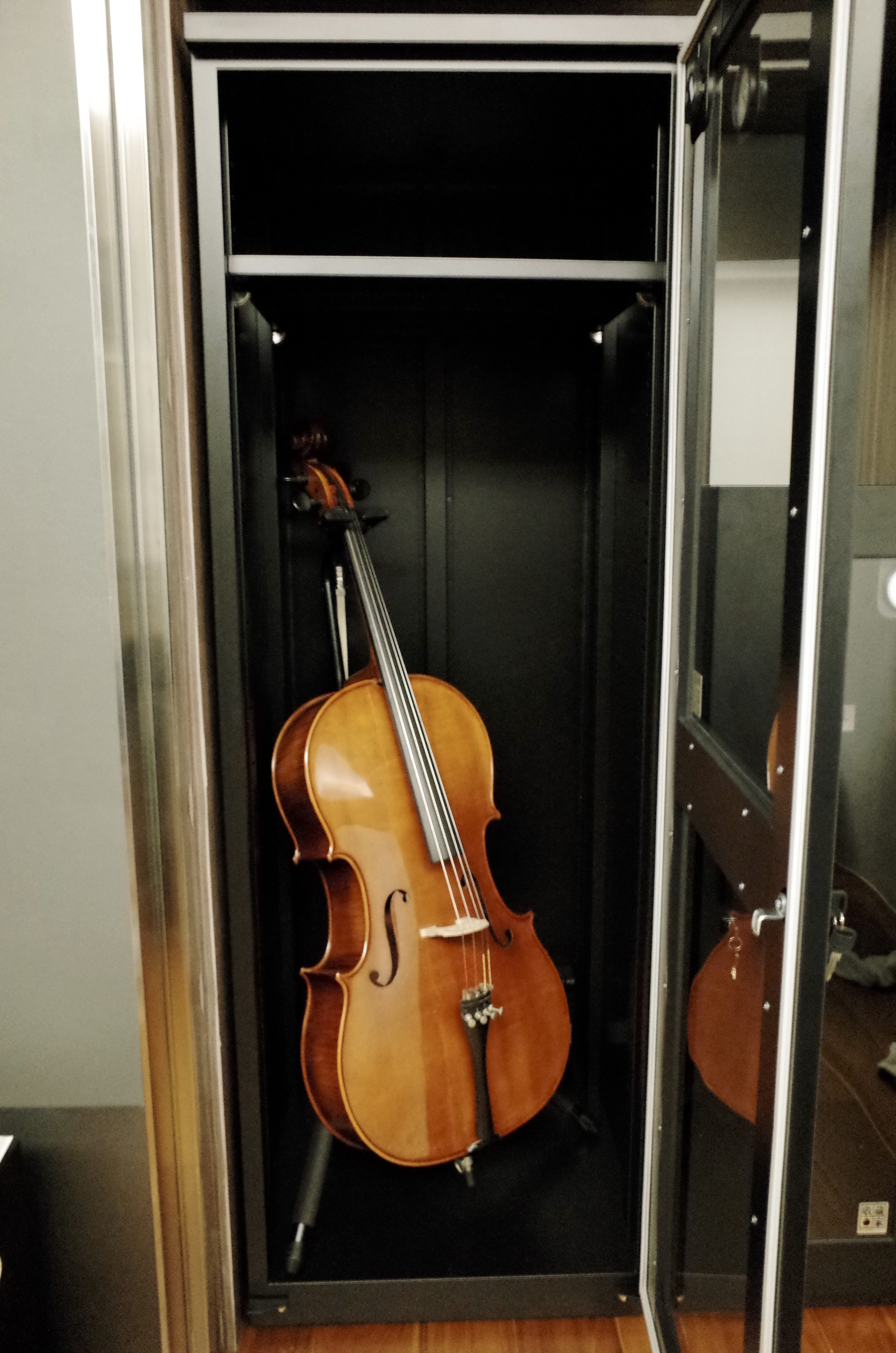 Cello Stored and Displayed in Eureka Dry Tech Dry Cabinet