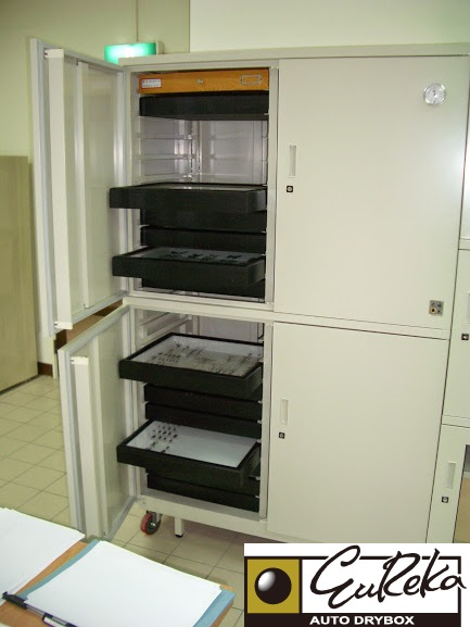 Trays of various bug specimen stored in Eureka Dry Tech BE-2001W Entomlogy Dry Cabinet