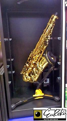 Saxophone stored in Eureka Auto Dry Box