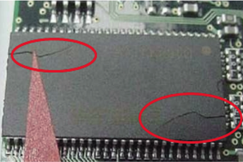 Encapsulated IC chip cracked during reflow process due to excessive moisture absorption